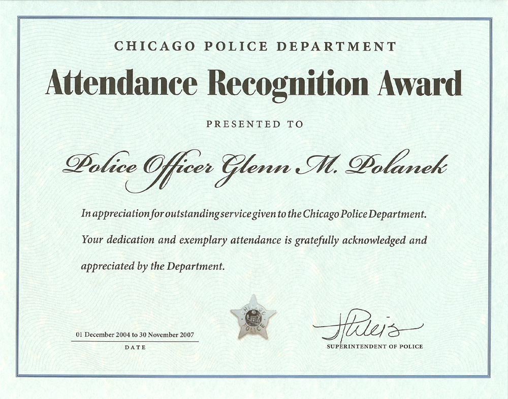 Attendance Recognition Award Certificate