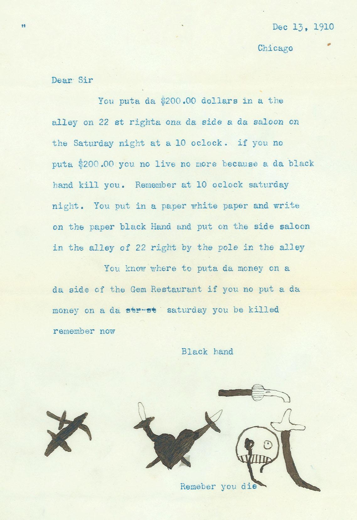 Black Hand Letter 1