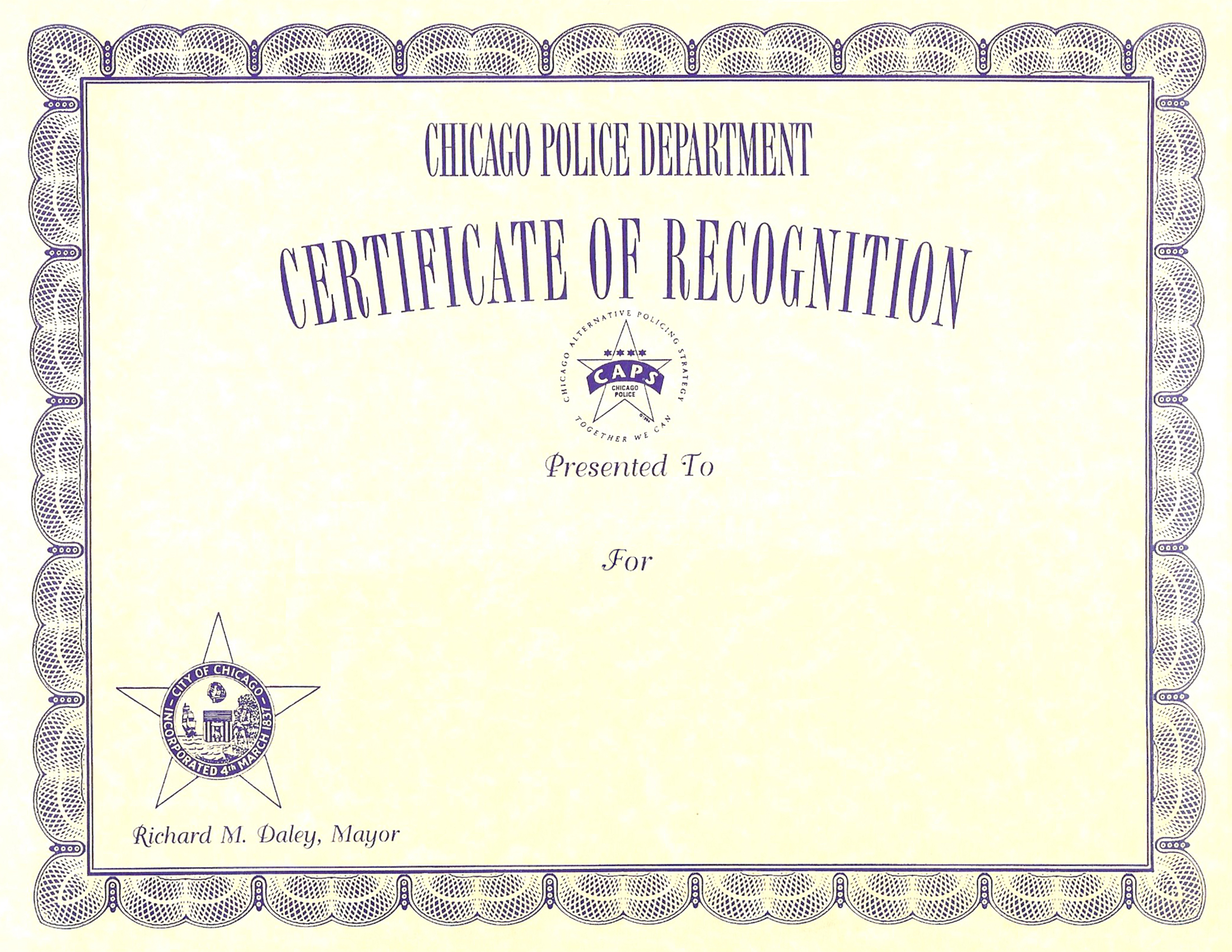 Certificate of Recognition Certificate - 1989 Series