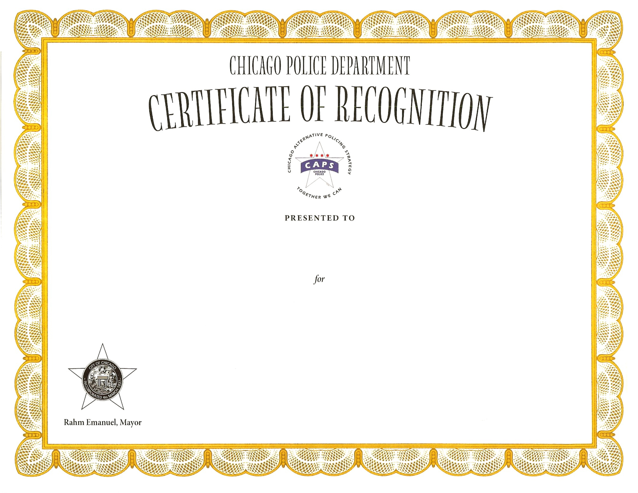 Certificate of Recognition Certificate - 2011 Series