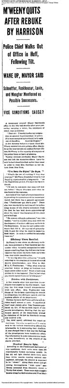 Chicago Daily Tribune – 1913, October 24 – McWeeny Quits After Rebuke by Harrison – Police Chief Walks Out of Office in Huff, Following Tilt – Wake Up, Mayor Said – Schuettler, Funkhouser, Lavin, and Meagher Mentioned as Possible Successors