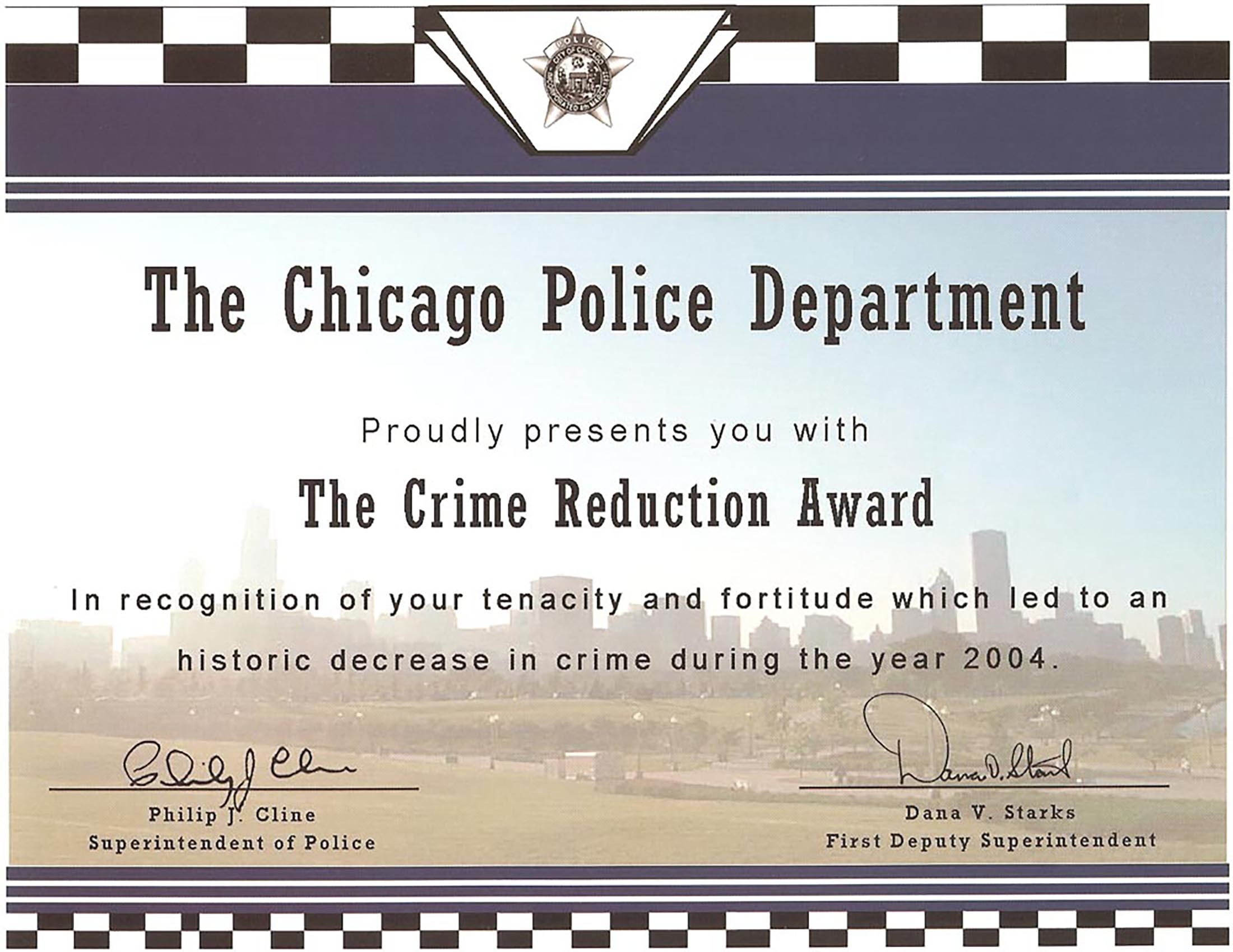Crime Reduction Award (2004) Certificate