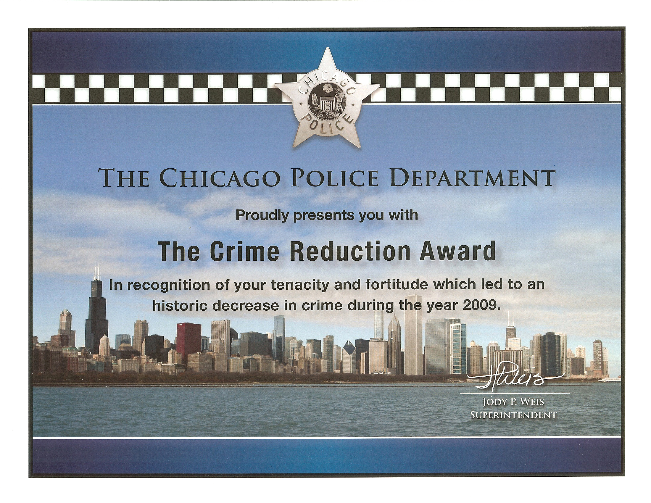 Crime Reduction Award (2009) Certificate