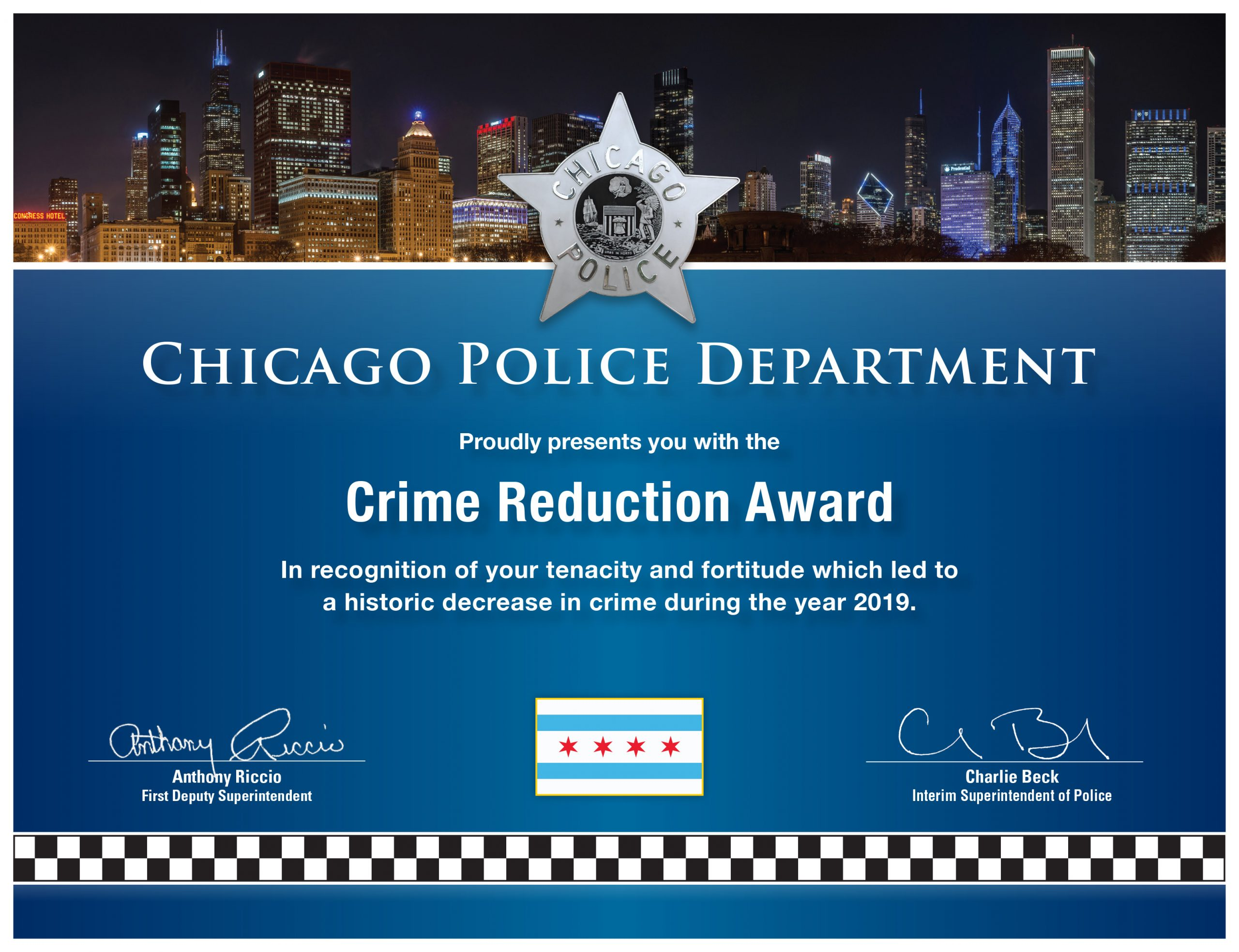 Crime Reduction Award (2009) Certificate