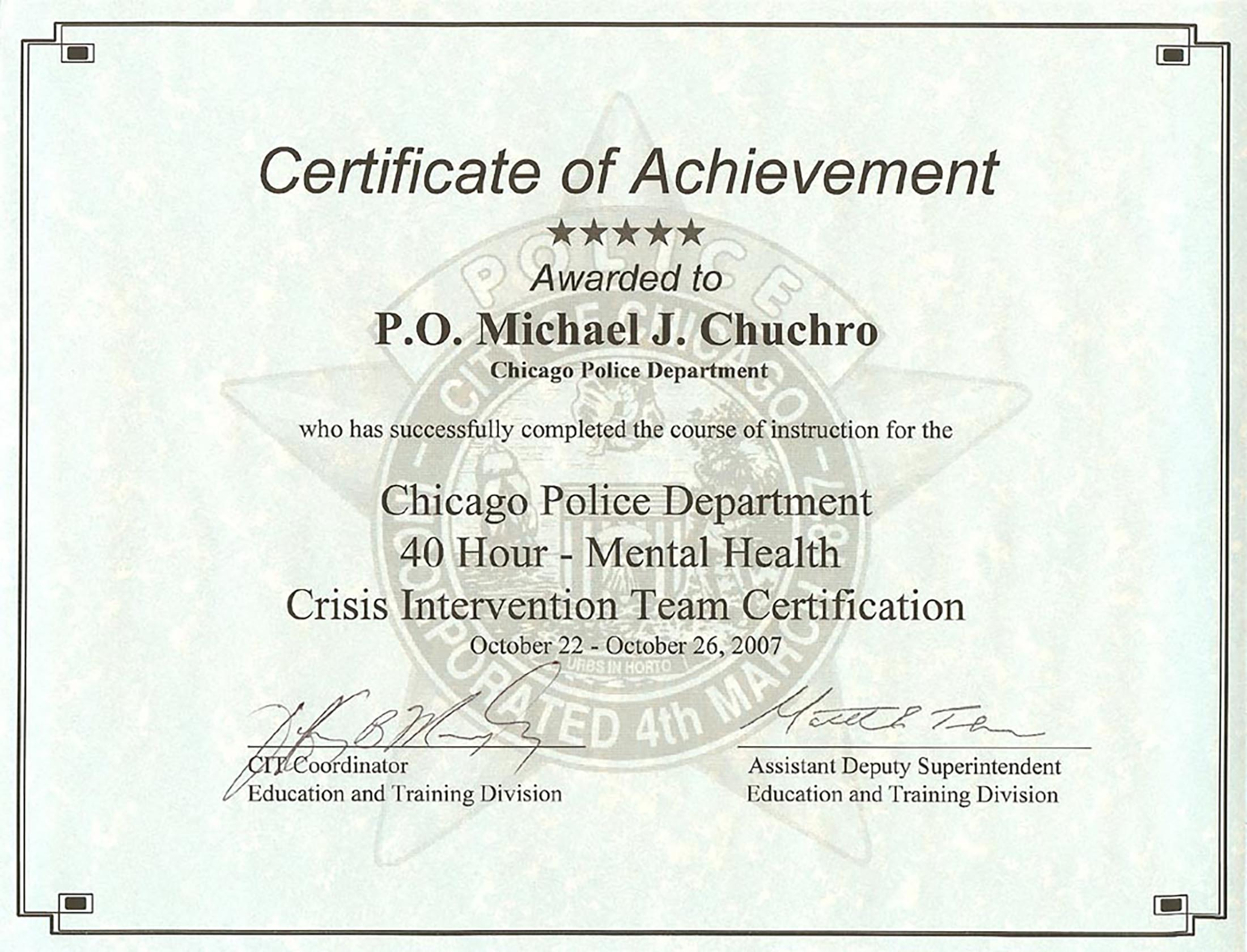 Crisis Intervention Team Training Certificate