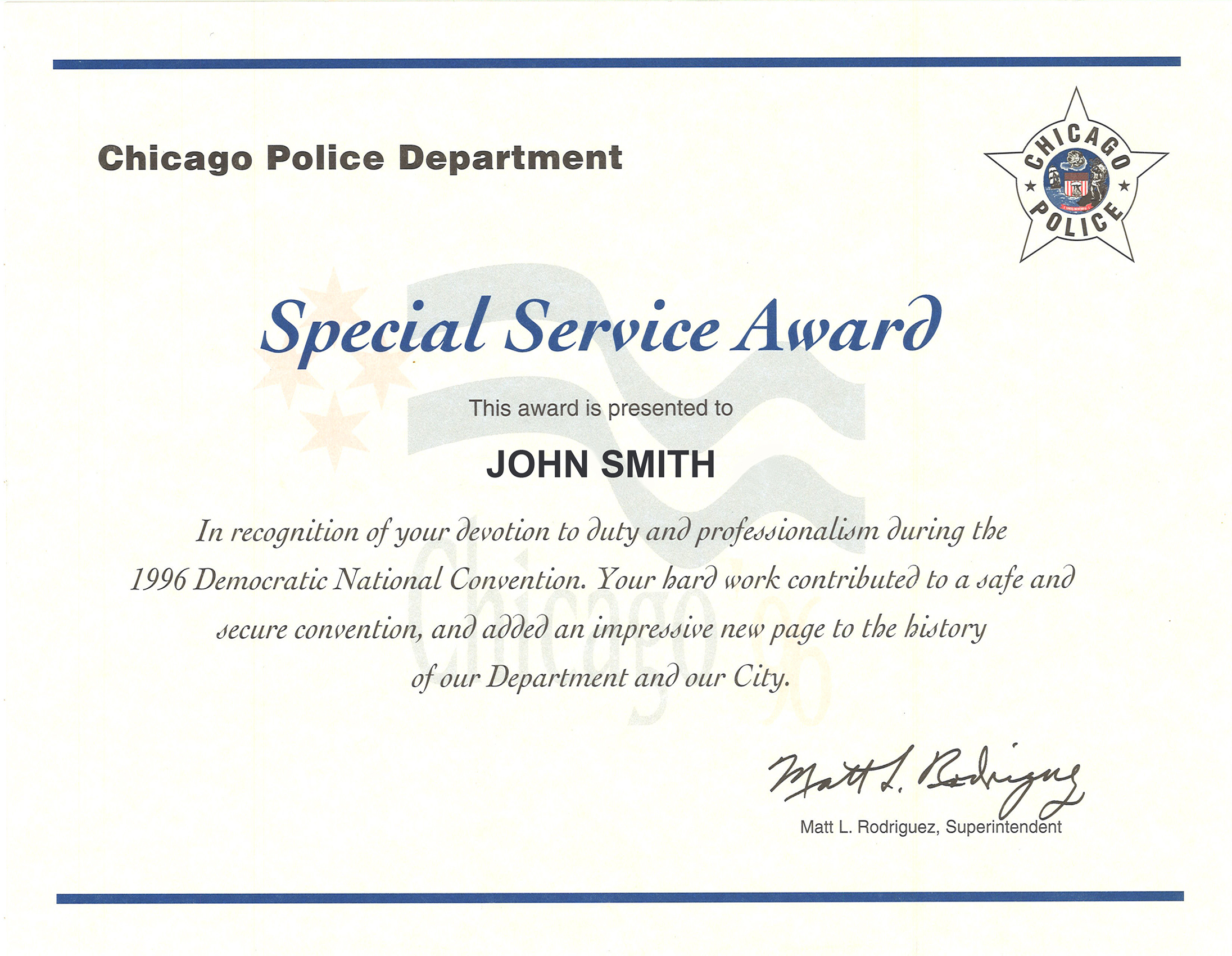 Democratic Convention Service Award Certificate