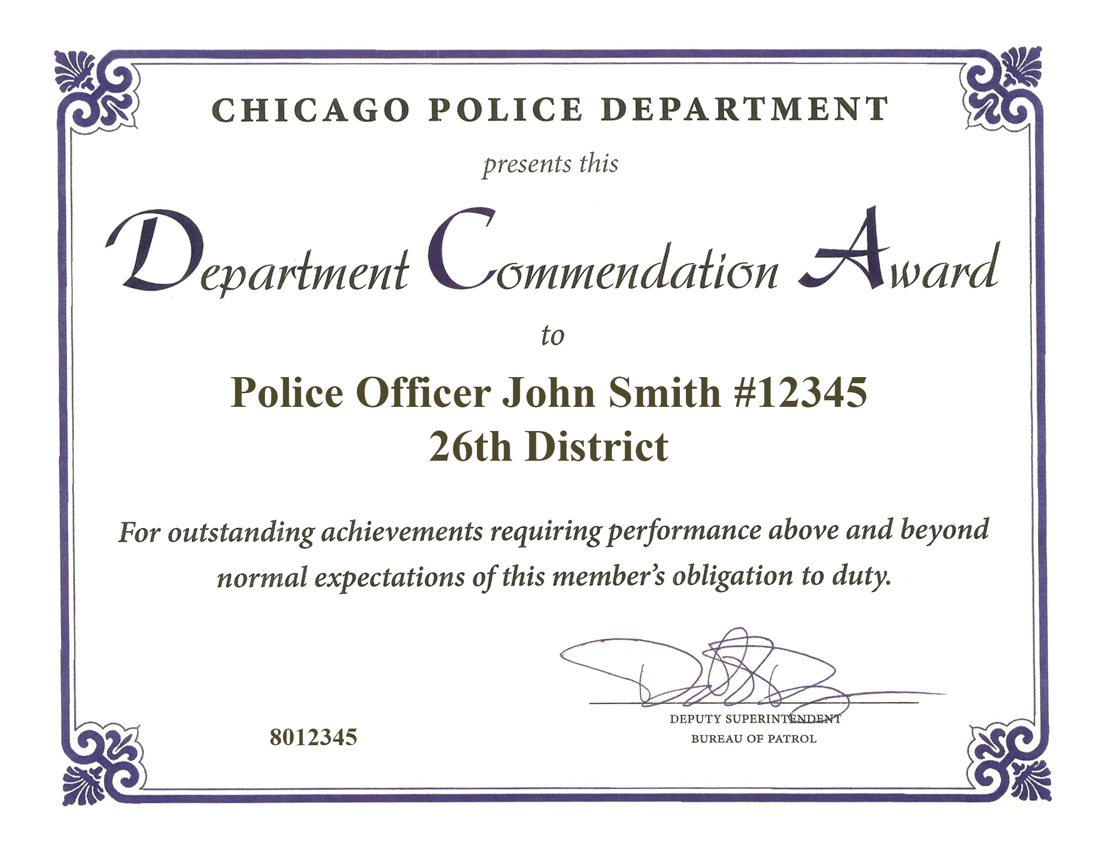 Department Commendation Award Certificate