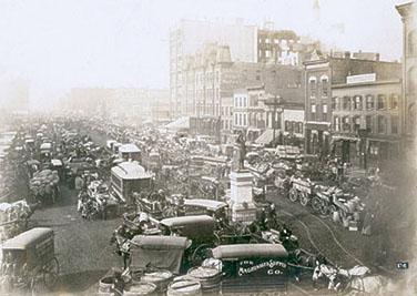 Haymarket Statue at Haymarket Square in Traffic - 1890