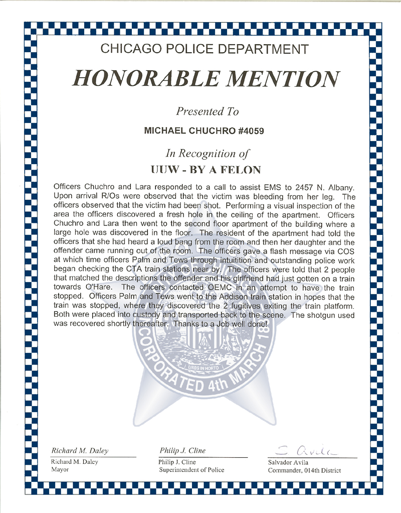 CERTIFICATE LETTER AWARDS ChicagoCop – Appreciation Certificates Wording