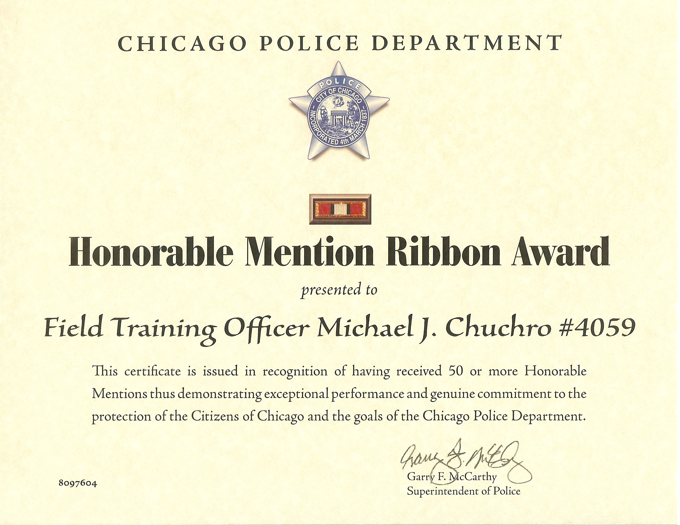 Honorable Mention Ribbon Award Certificate