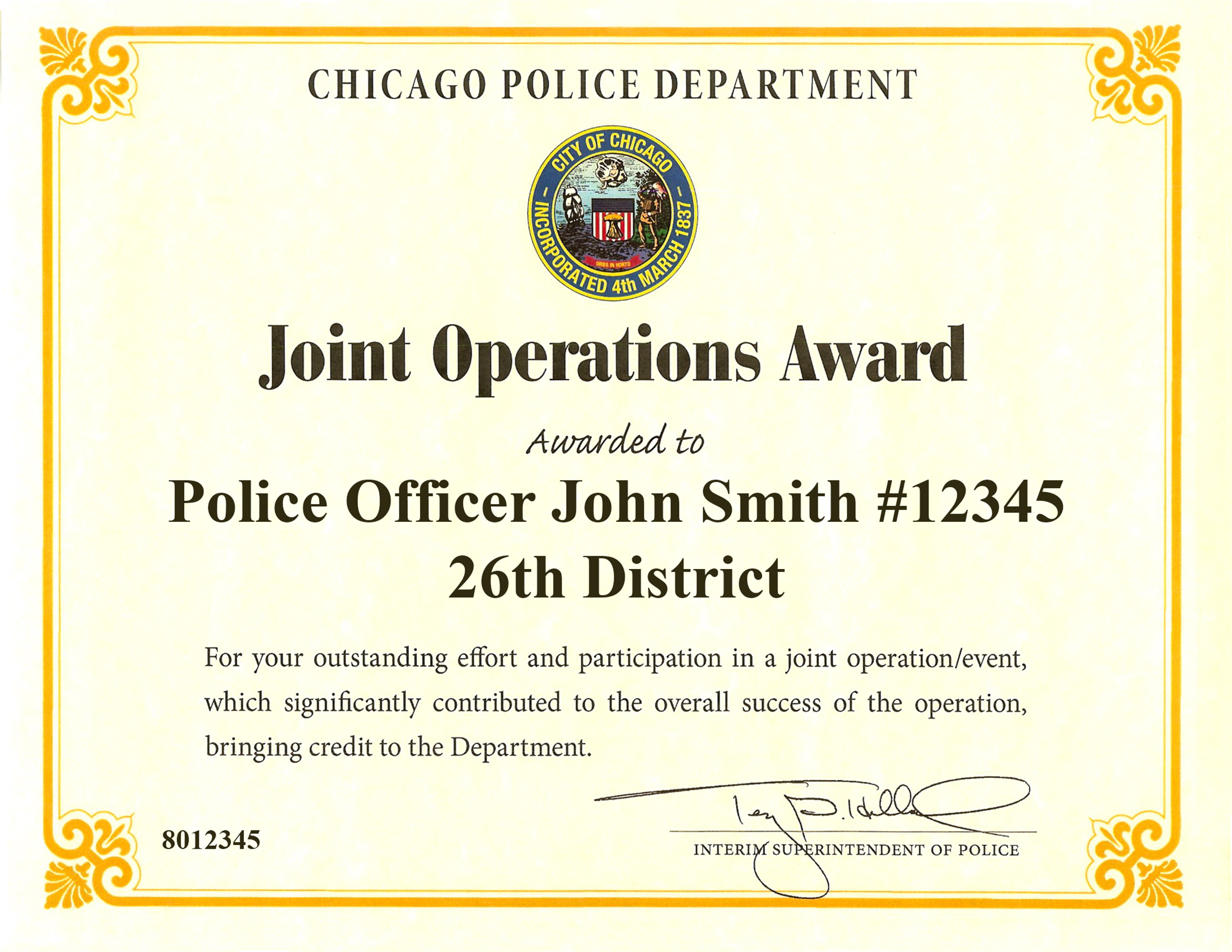 Joint Operations Award Certificate