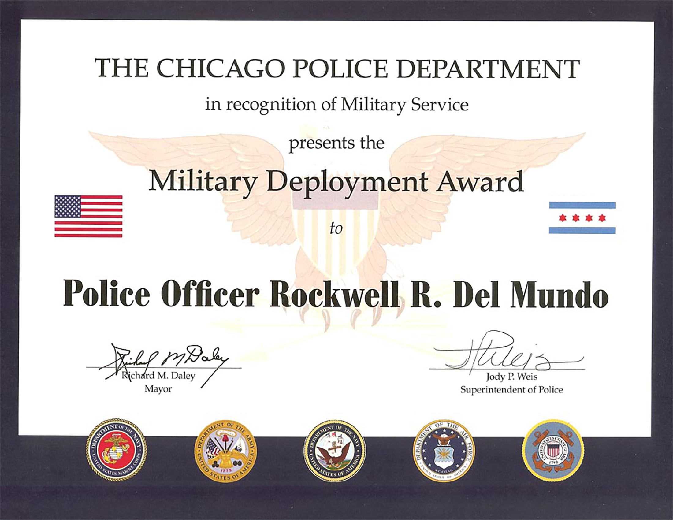 Military Service Award Certificate