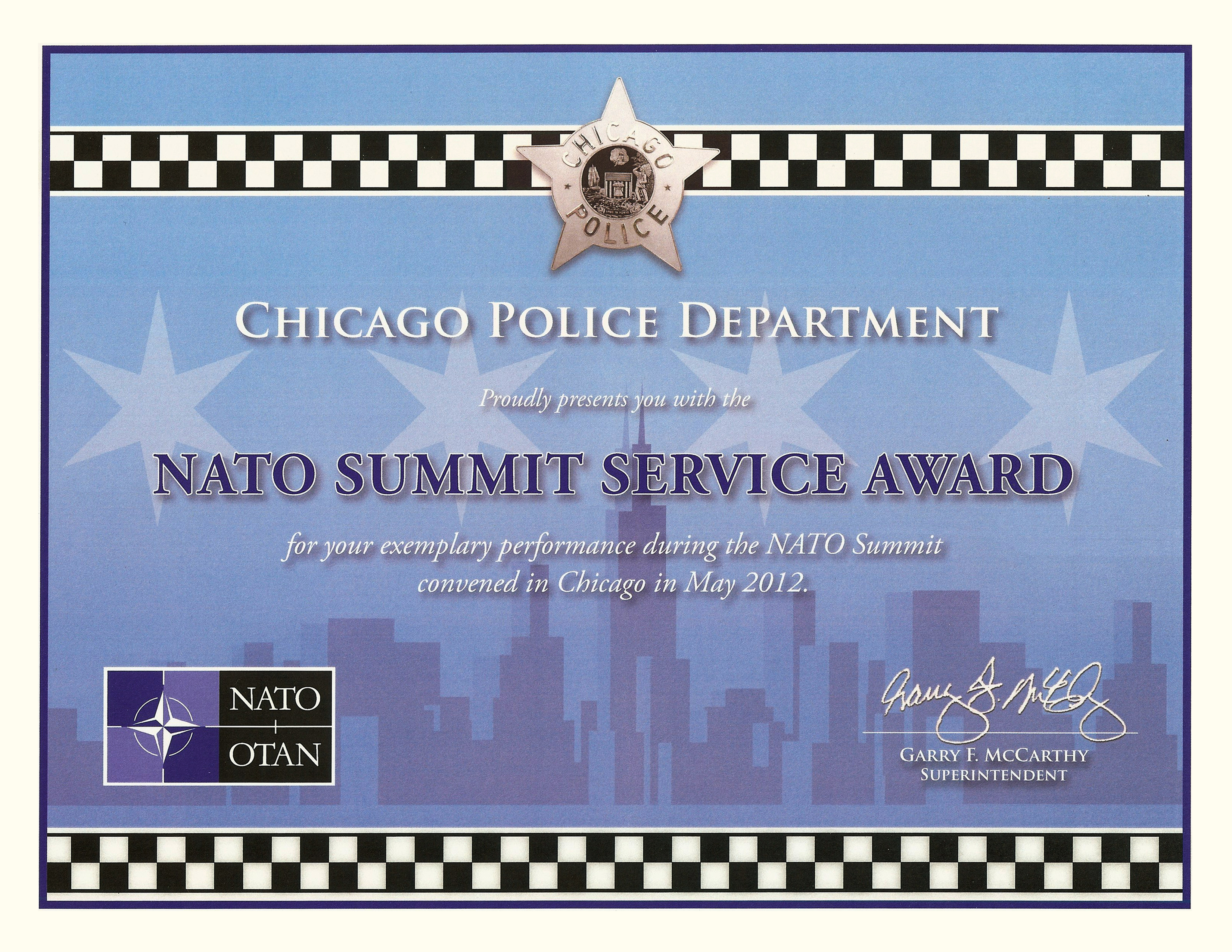 Nato Summit Service Award Certificate