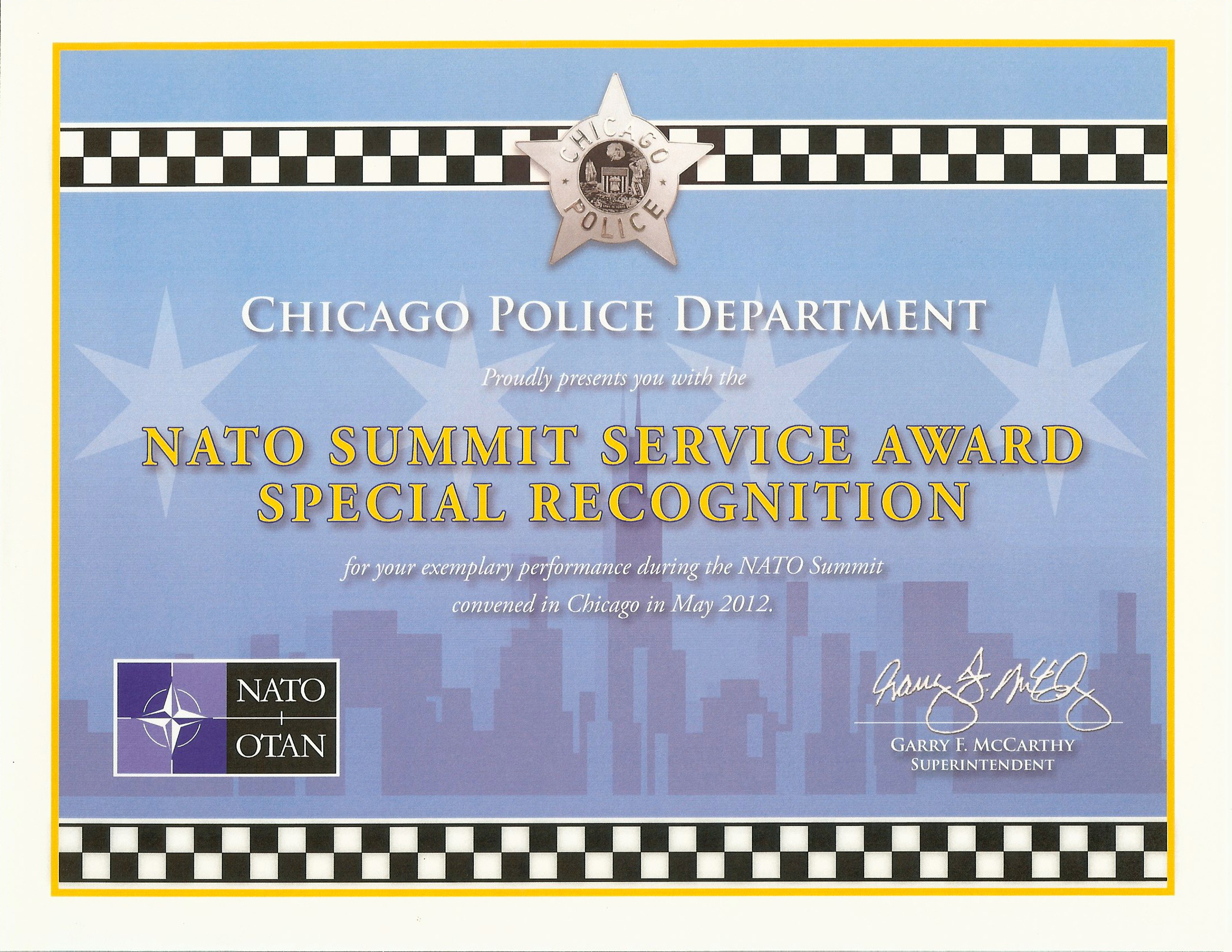 Nato Summit Service Award Special Recognition Certificate