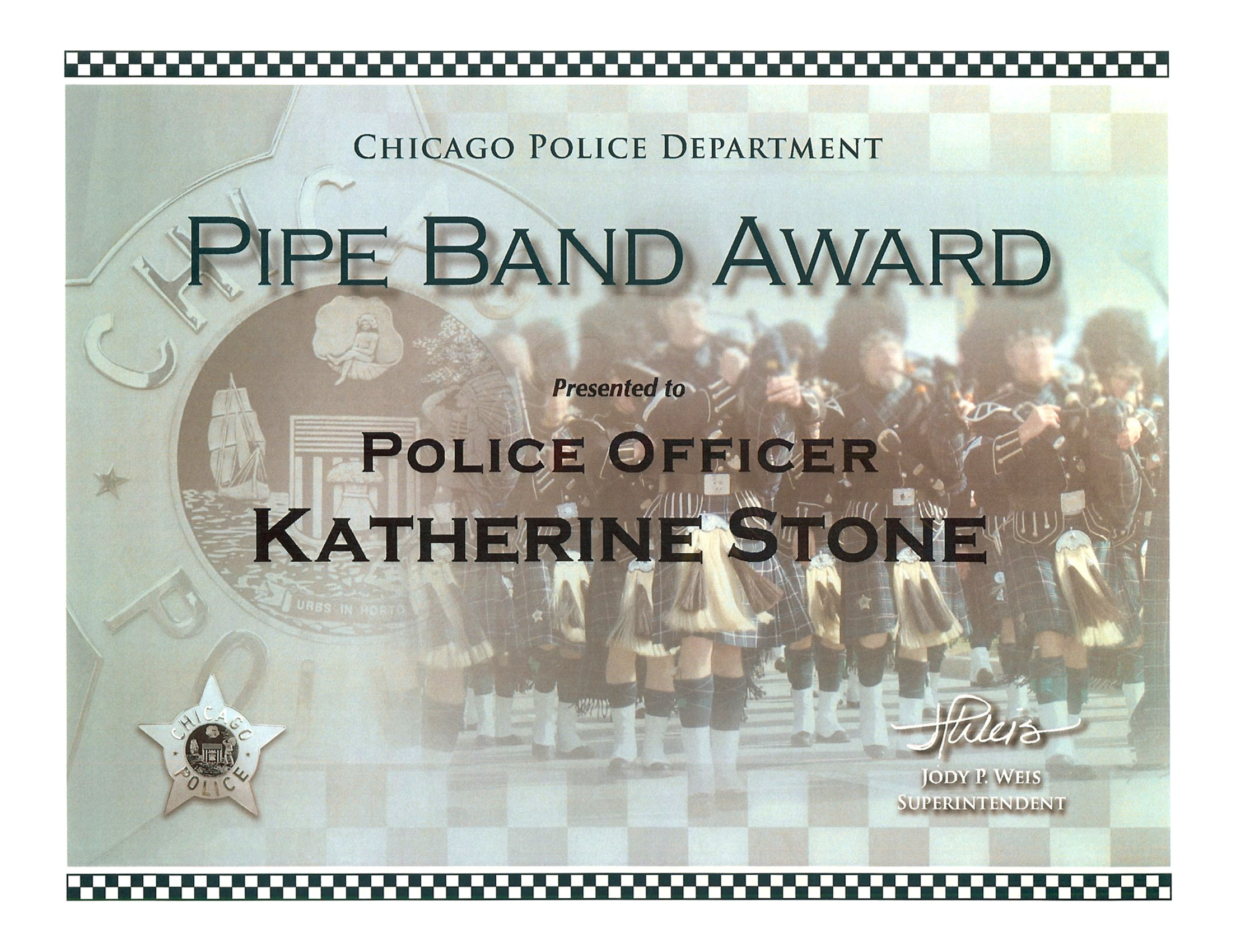 Pipe Band Award Certificate