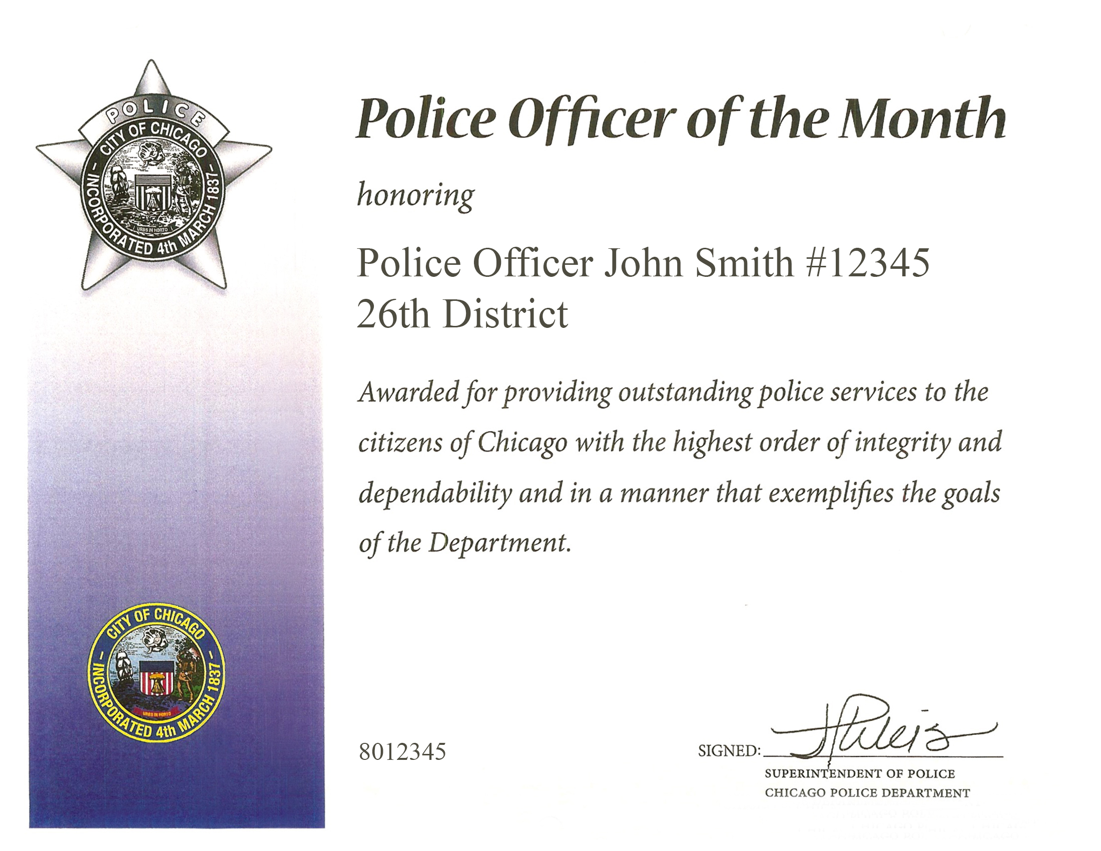 Police Officer of the Month Award Certificate