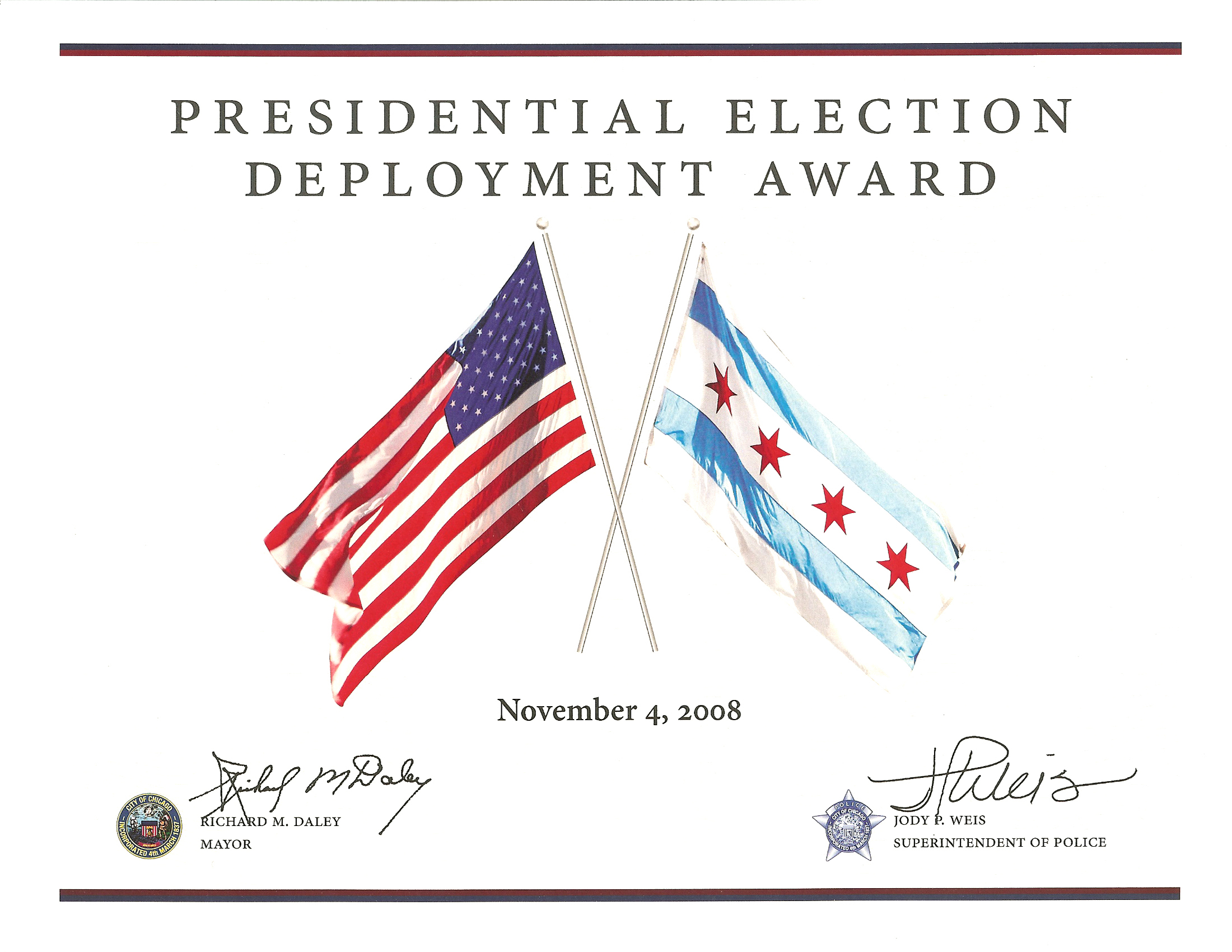 Presidential Election Deployment Award Certificate
