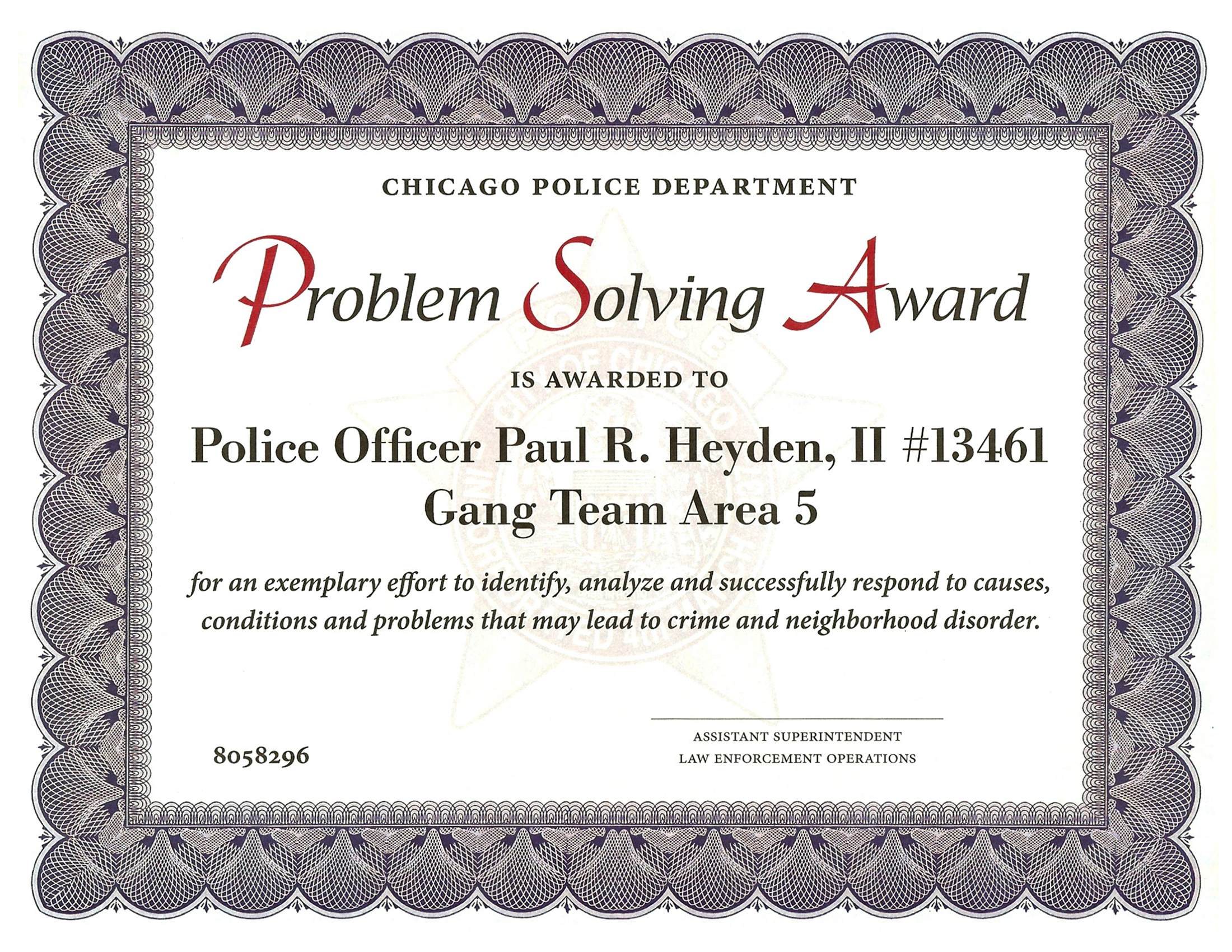 Problem Solving Award Certificate