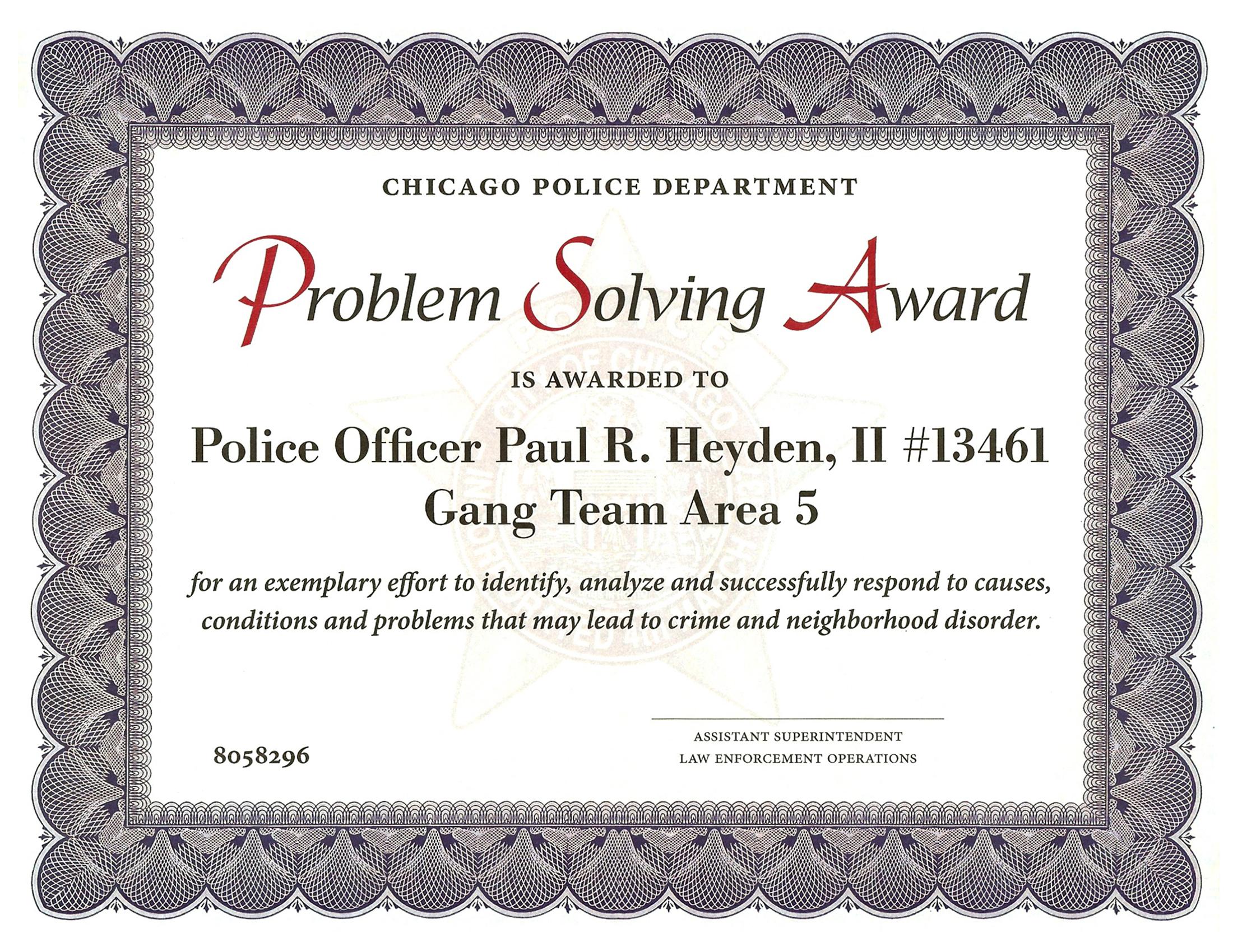Problem Solving Award Certificate