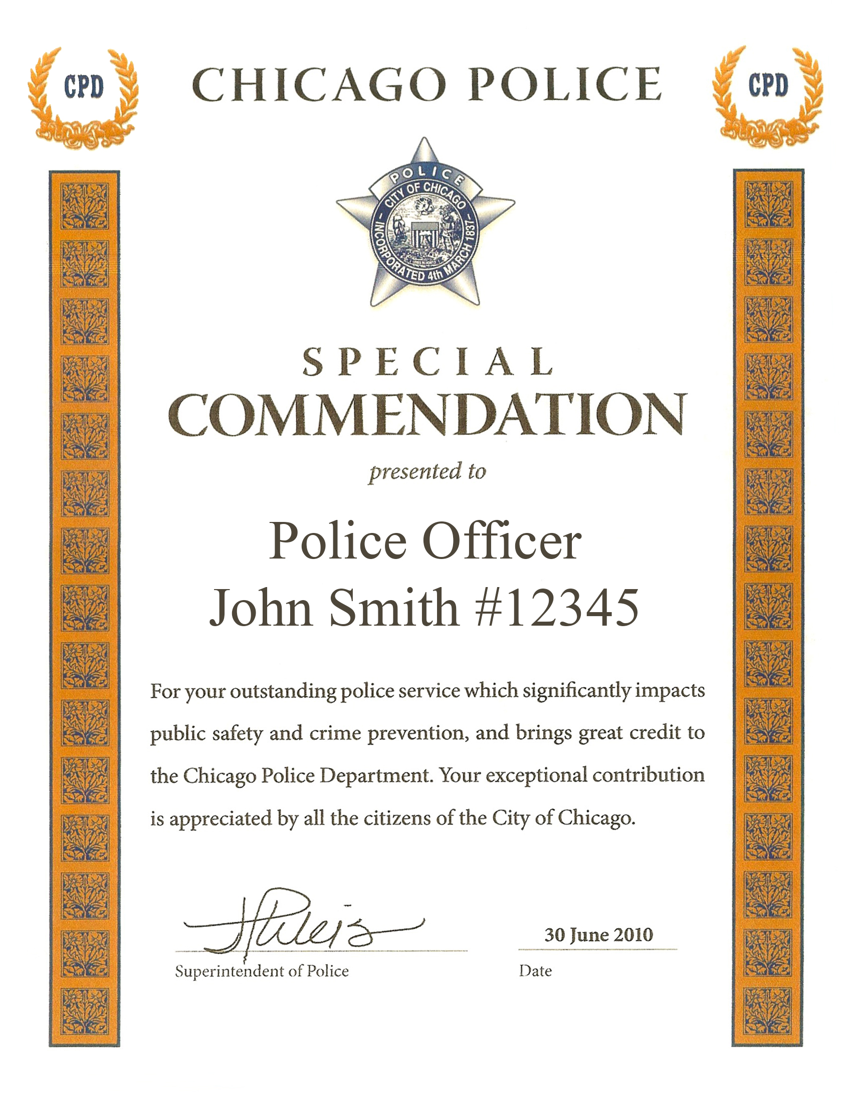 Special Commendation Award Certificate