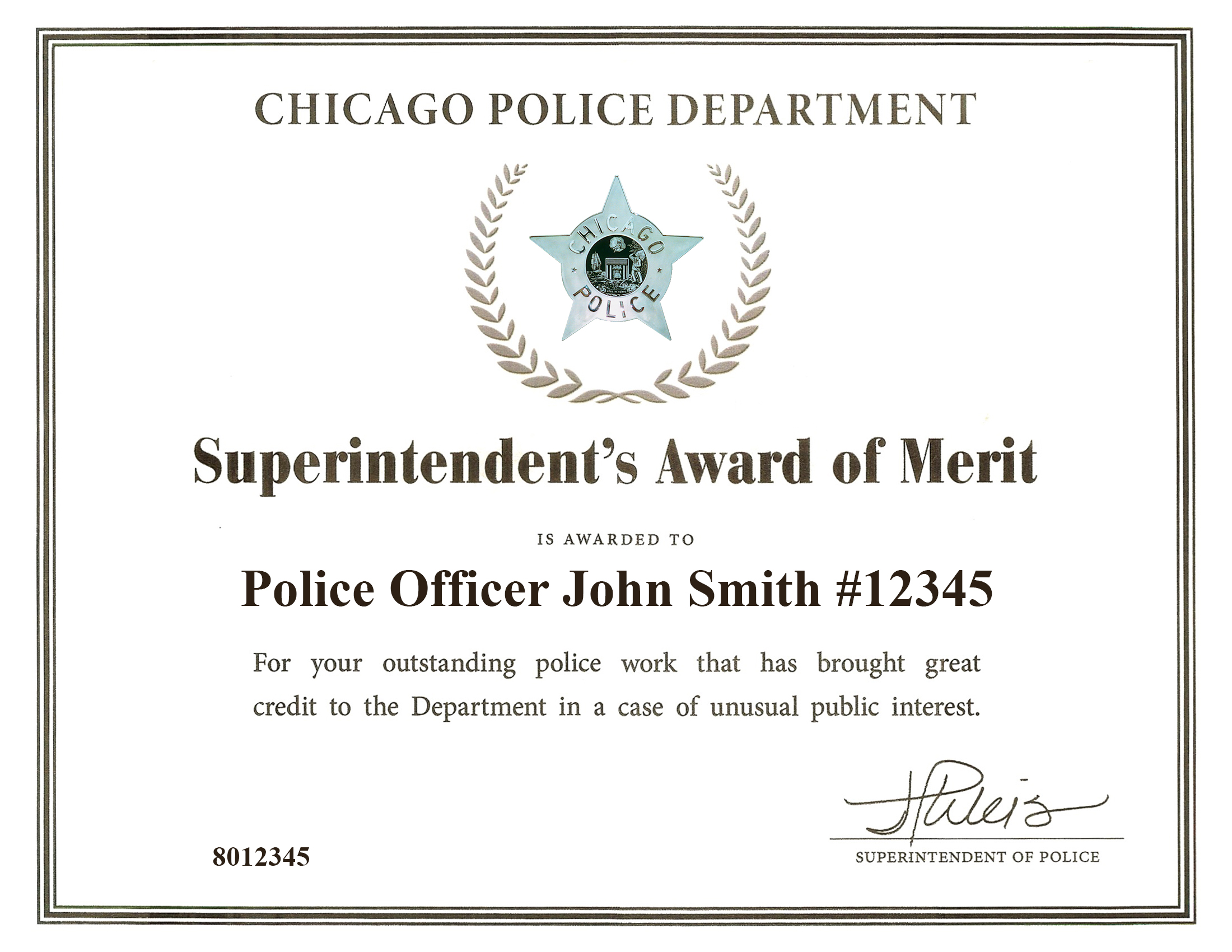 Superintendent's Award of Merit Certificate