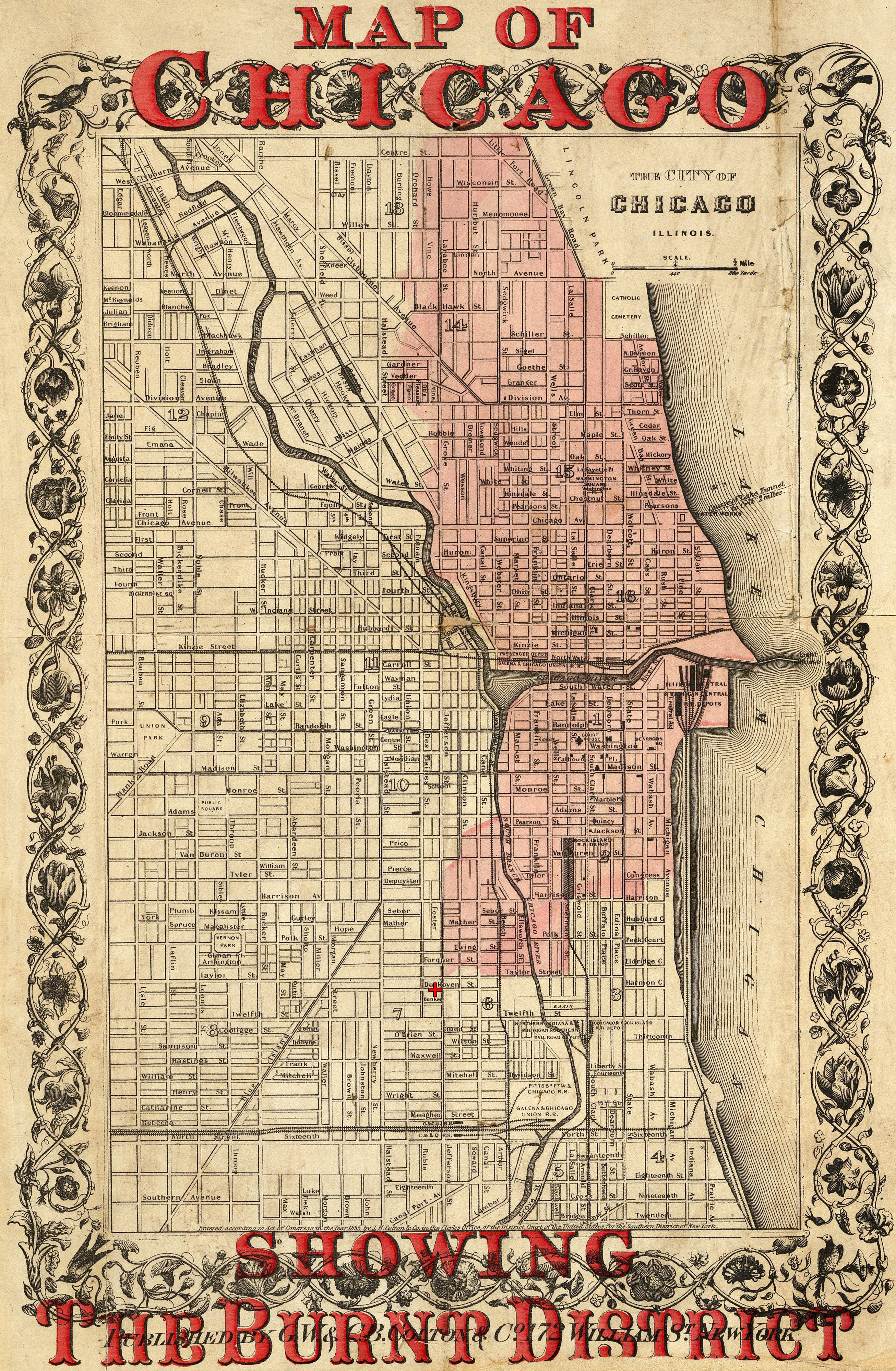 The Great Chicago Fire - 1869 Map of Chicago, Showing the Burned Area From the Great Chicago Fire (1871)