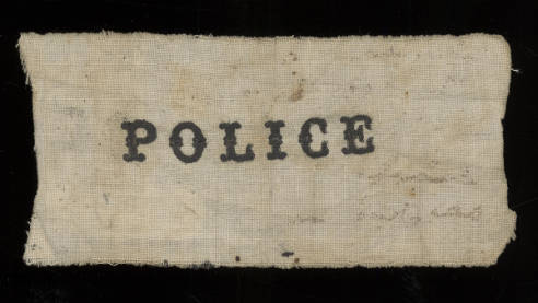 The Great Chicago Fire Temporary Cloth Police Badge (October 10, 1871)