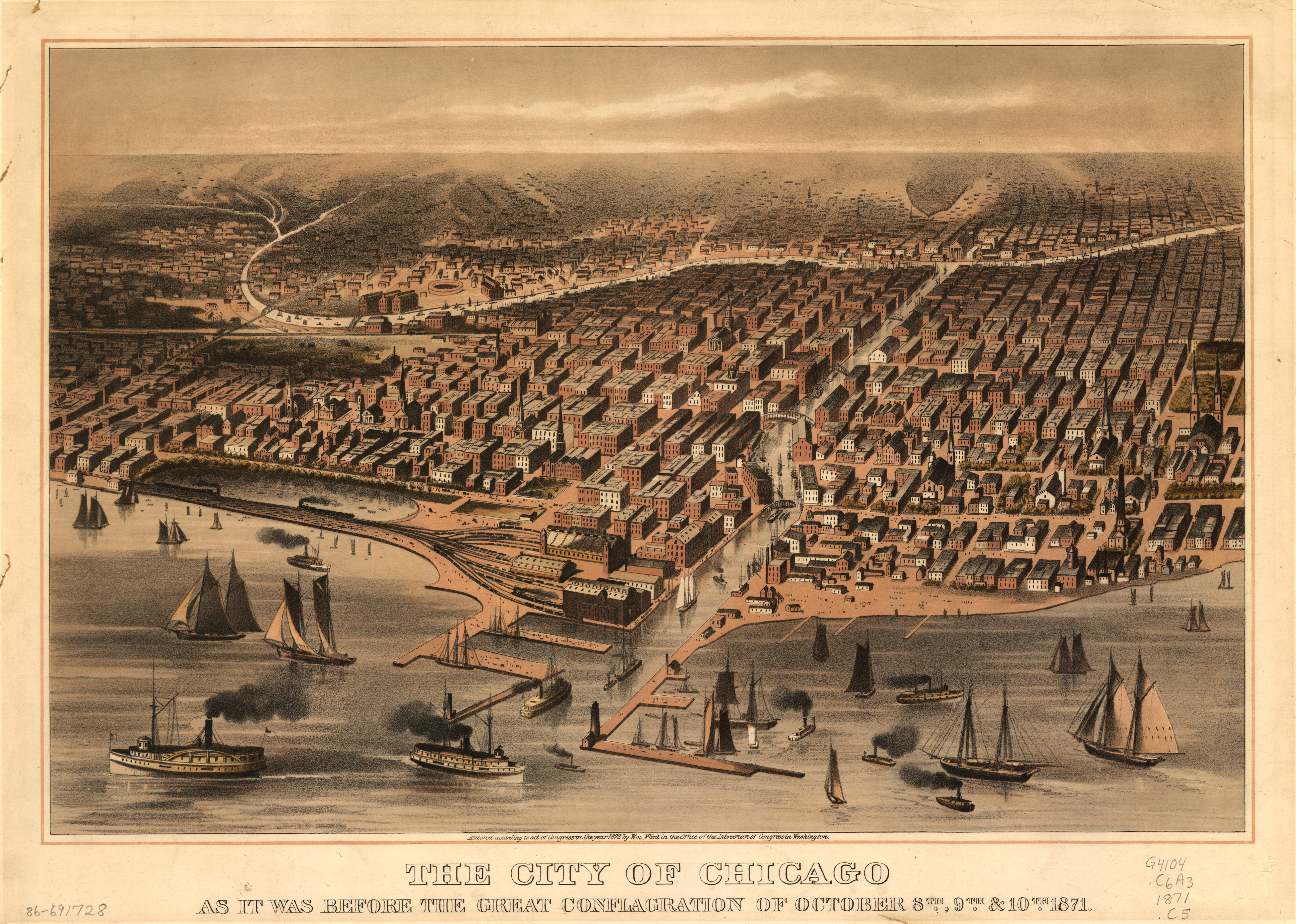The Great Chicago Fire - The City of Chicago as it was Before the Great Chicago Fire (1872)