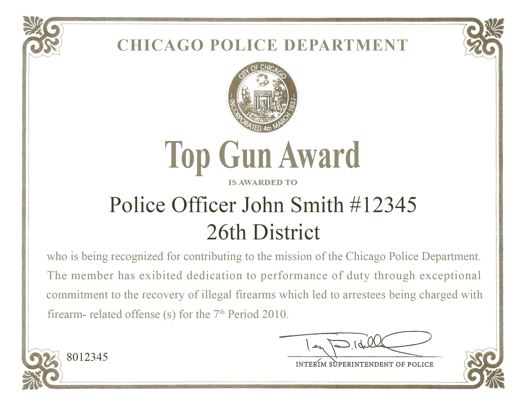Top Gun Award Certificate