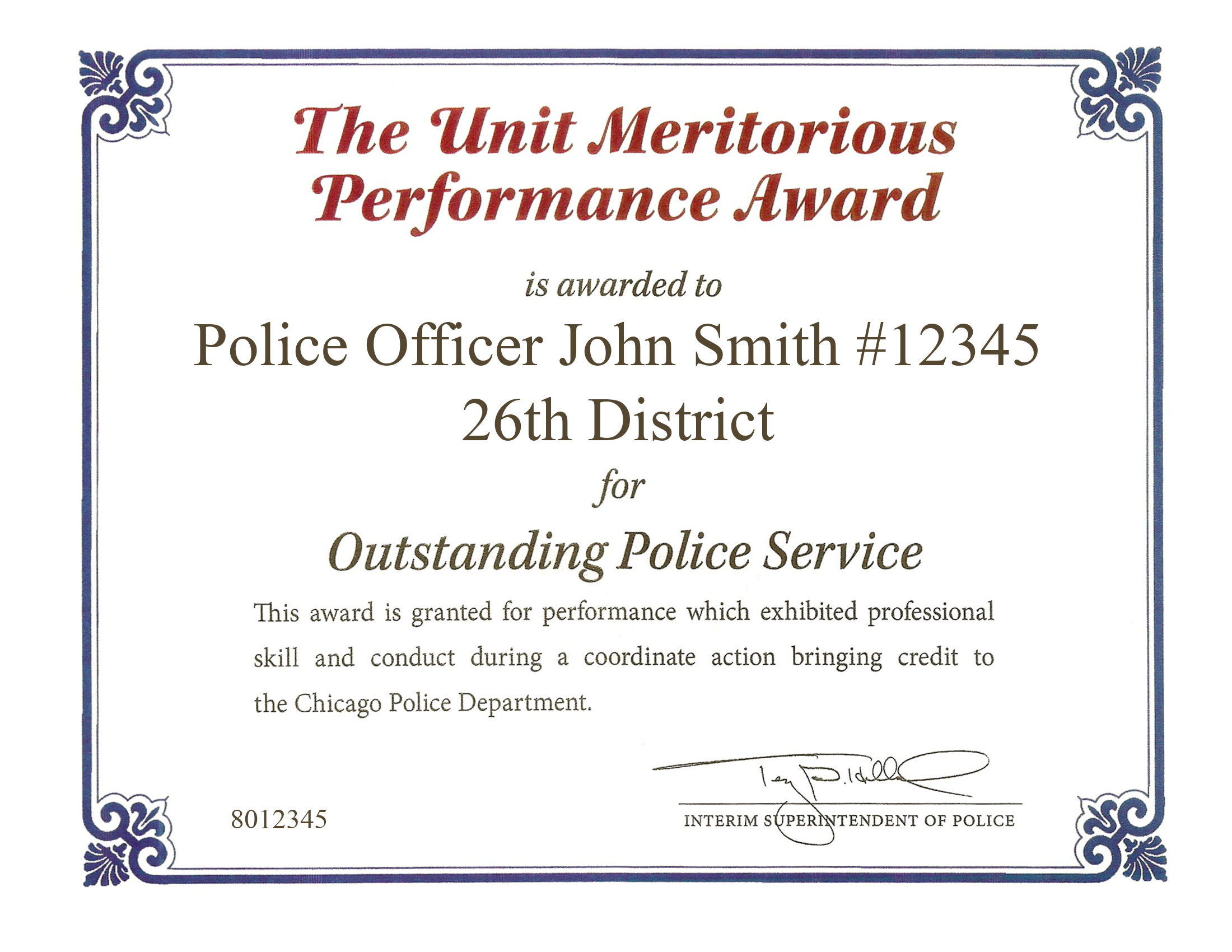 Unit Meritorious Performance Award Certificate